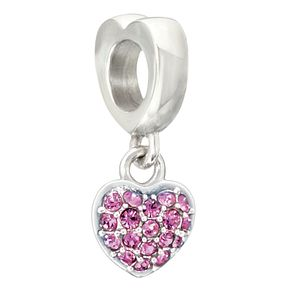 Chamilia Silver Pink Swarovski Crystal Heart Charm - Product number 2177536