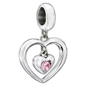 Chamilia Silver Pink Swarovski Crystal Heart Charm - Product number 2177692