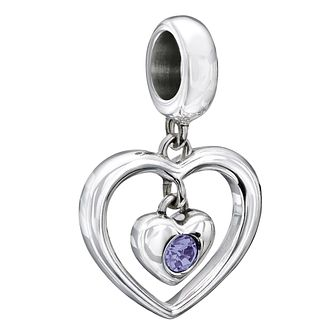 Chamilia Silver Purple Swarovski Crystal Heart Charm - Product number 2177706