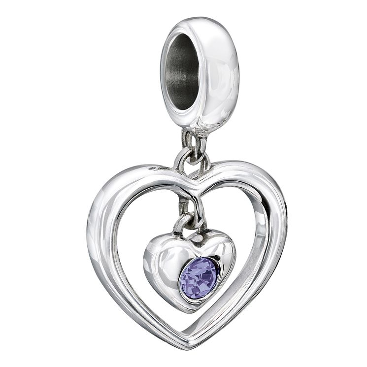 Chamilia Silver Purple Swarovski Crystal Heart Bead - Product number 2177706