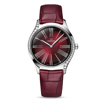 Omega Tresor Ladies' Diamond Burgundy Leather Strap Watch - Product number 2178249
