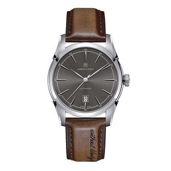 Hamilton men's brown leather strap watch - Product number 2181622