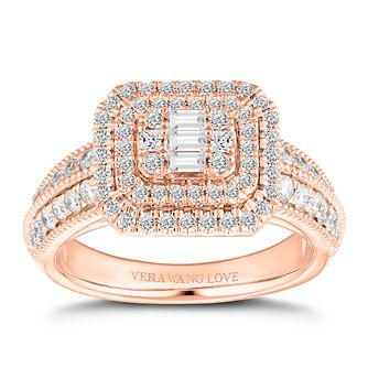 Vera Wang 18ct Rose Gold 0.95ct Cluster Ring - Product number 2182521