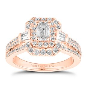 Vera Wang 18ct Rose Gold 1.18ct Emerald Cut Engagement Ring - Product number 2183331