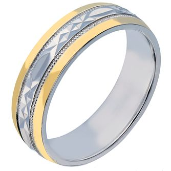 Men's Silver & 9ct Yellow Gold 6mm Patterned Wedding Ring - Product number 2189623