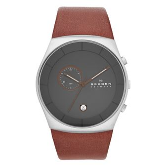 Skagen Men's Charcoal Dial With Brown Leather Strap Watch - Product number 2191407