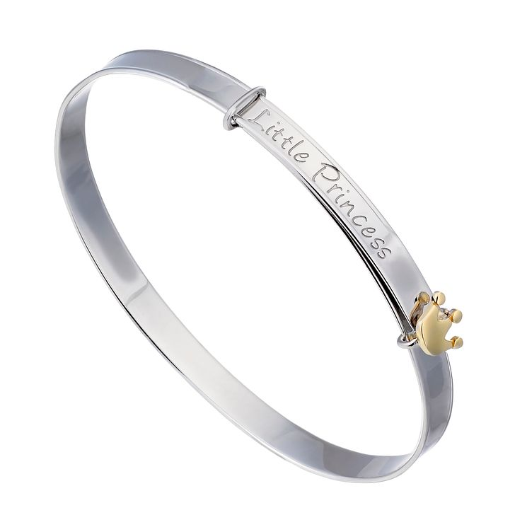 Children's Silver & 9ct Yellow Gold Little Princess Bangle - Product number 2192098