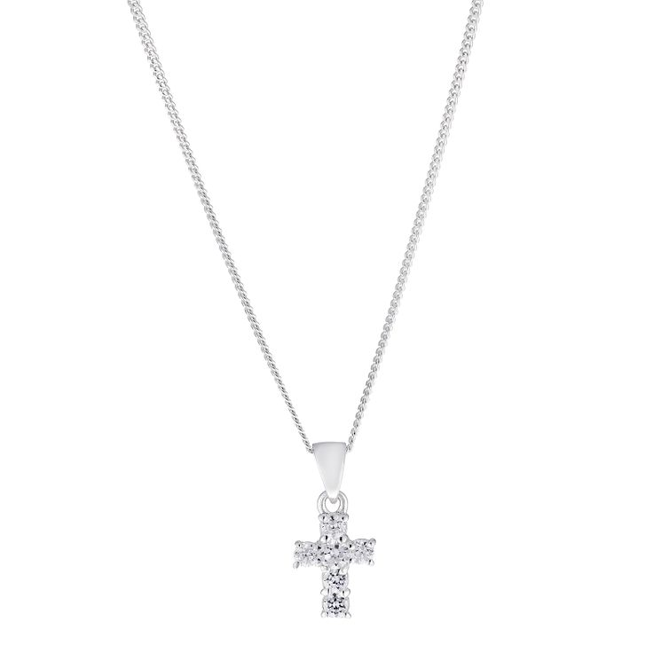 "Children's Silver & Cubic Zirconia 14"" Cross Pendant - Product number 2192292"