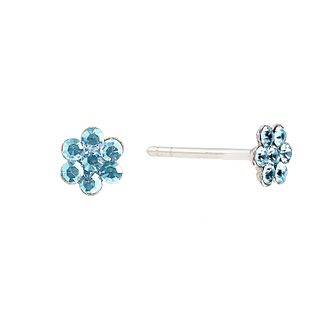 Children's Sterling Silver Blue Crystal Flower Stud Earrings - Product number 2192381