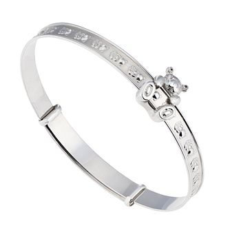 Children's Sterling Silver Moving Teddy Expander Bangle - Product number 2192470