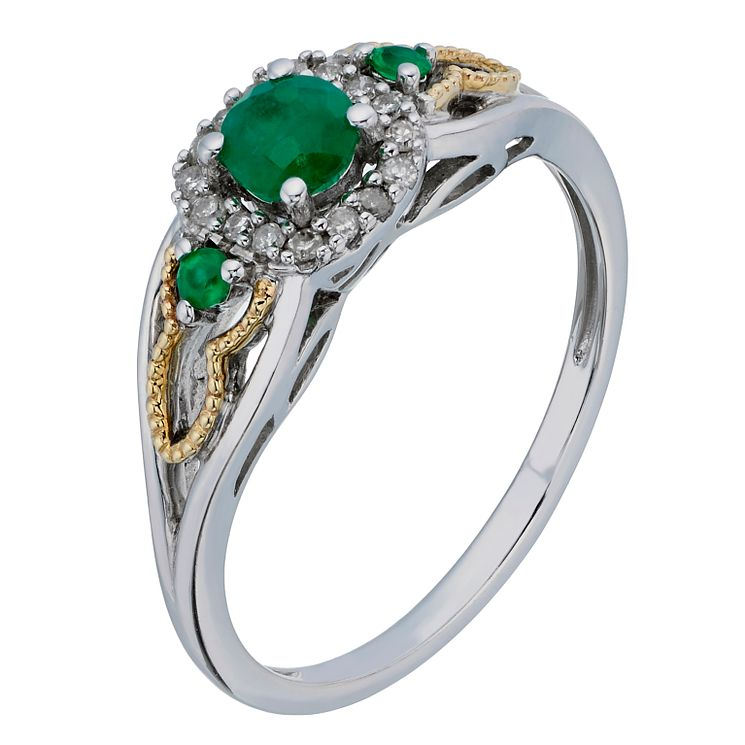 Silver and 9ct Yellow Gold Diamond and Emerald Three Stone