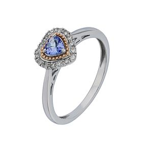 Silver & 9ct Rose Gold Tanzanite & Diamond Heart Ring - Product number 2195216