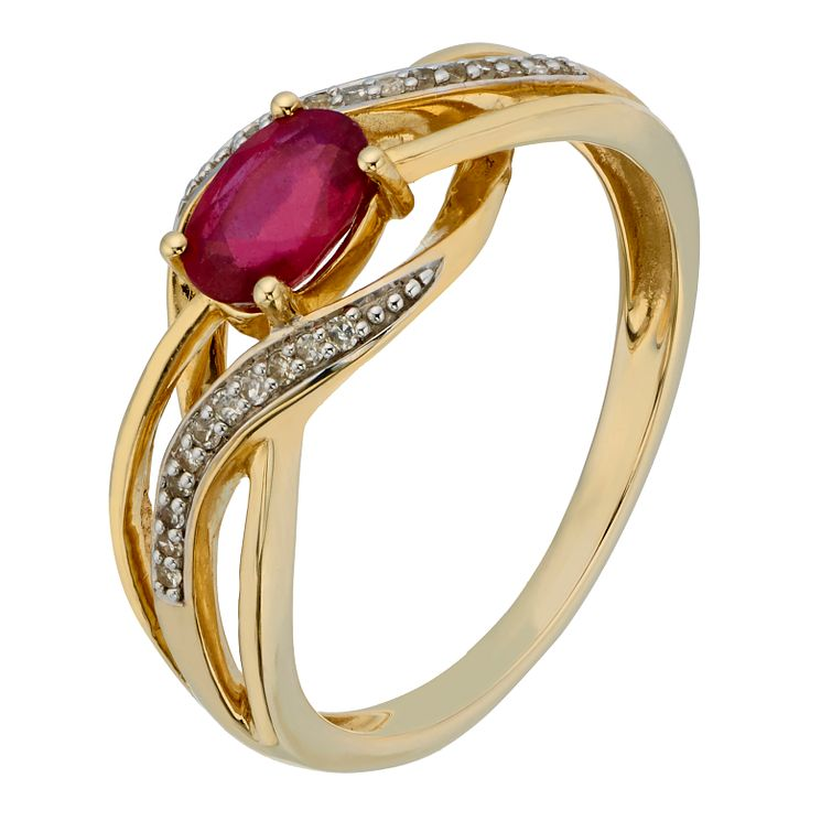 9ct Yellow Gold Diamond & Treated Ruby Crossover Ring - Product number 2195488