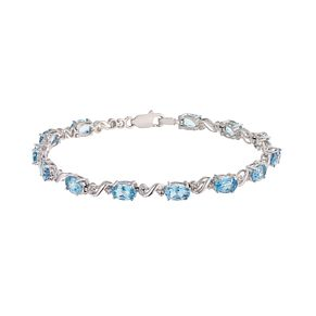 Sterling Silver Blue Topaz & Diamond Twist Bracelet - Product number 2195755
