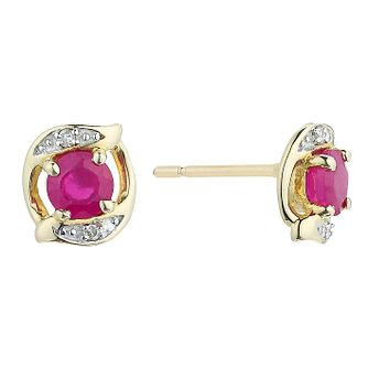 9ct Yellow Gold Ruby & Diamond Stud Earrings - Product number 2199440