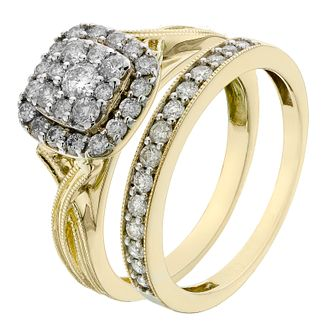 Perfect Fit 9ct Yellow Gold 2/3 Carat Diamond Bridal Set - Product number 2203537