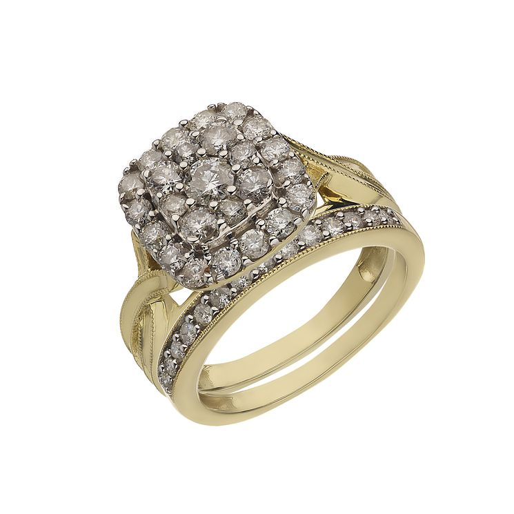 Perfect Fit 9ct Yellow Gold 1.25 Carat Diamond Bridal Set - Product number 2203820