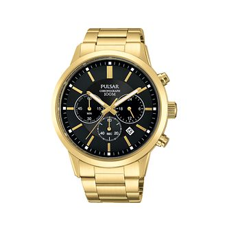 Pulsar Men's Gold Plated Chronograph Bracelet Watch - Product number 2209640