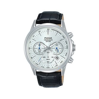 Pulsar Men's Chronograph Black Leather Strap Watch - Product number 2209675