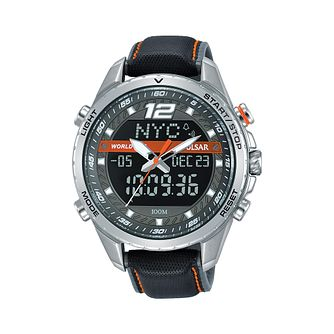 Pulsar Men's Digital Black Leather Strap Watch - Product number 2209756