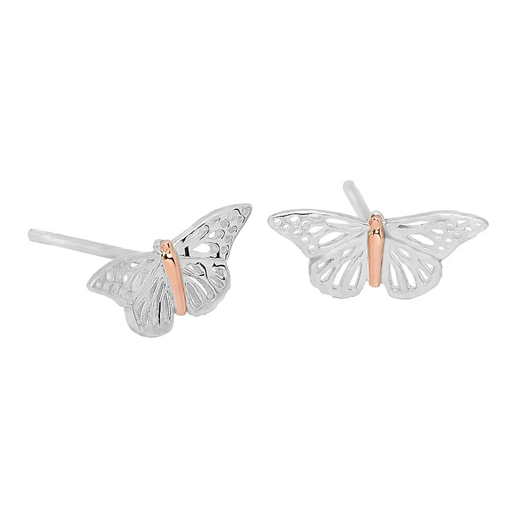 Clogau Butterfly silver & 9ct rose gold butterfly earrings - Product number 2210185
