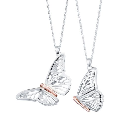 Clogau Butterfly silver & 9ct rose gold butterfly locket - Product number 2210193