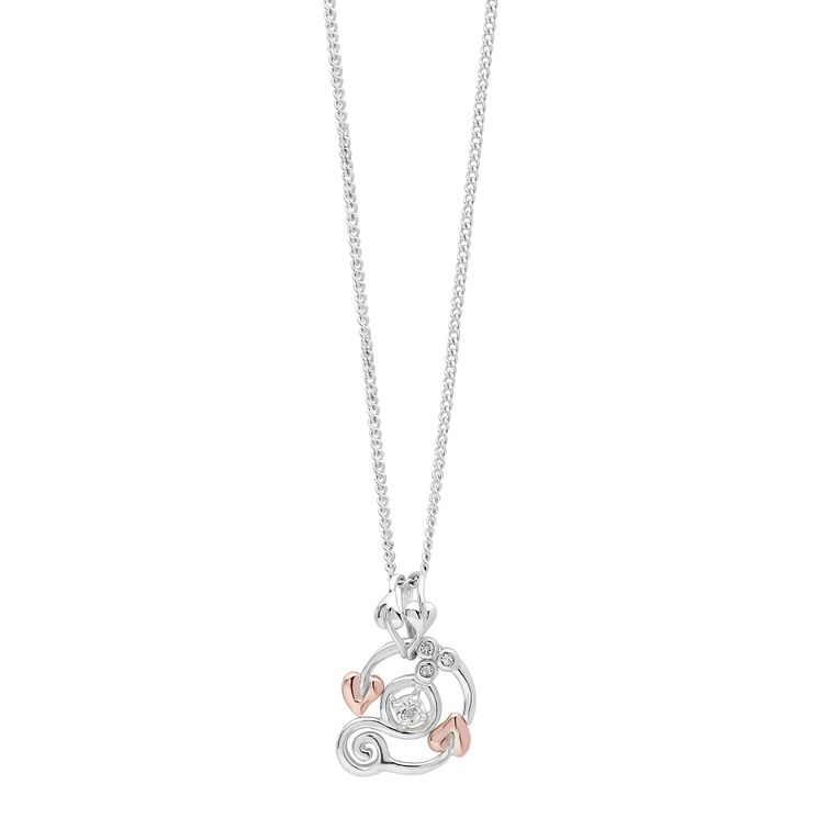 Clogau Origin silver & 9ct rose gold white topaz pendant - Product number 2211726