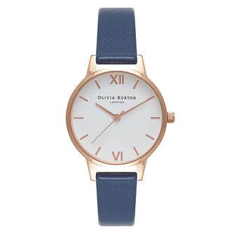 Olivia Burton Midi Dial Rose Gold Plated Blue Strap Watch - Product number 2216450