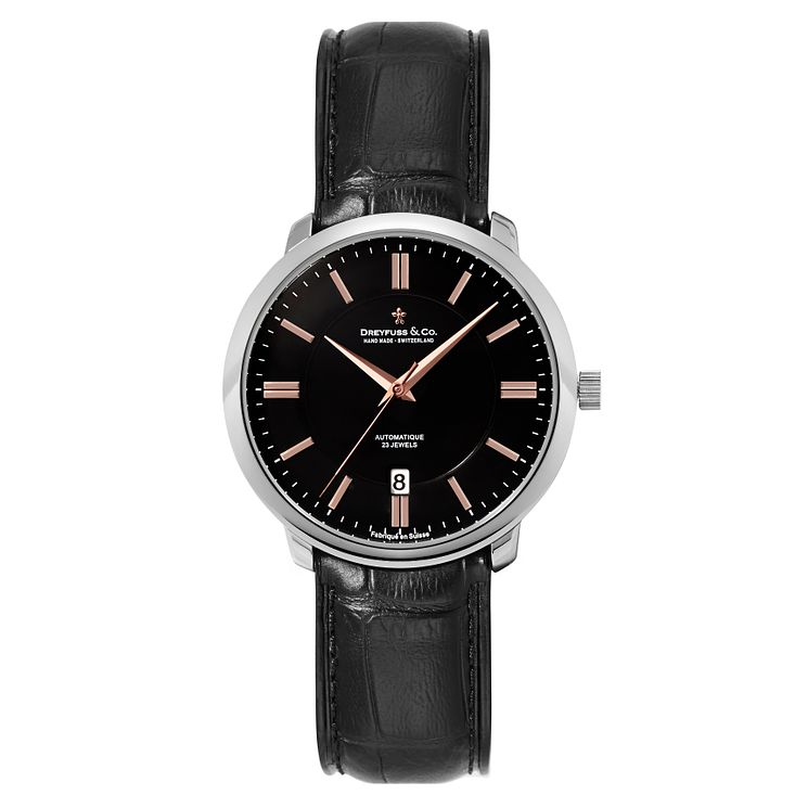 Dreyfuss & Co men's black croc effect leather strap watch - Product number 2217716
