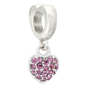 Chamilia silver & purple Swarovski crystal heart charm - Product number 2225832