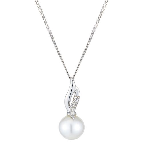 9ct White Gold Pearl And Diamond Twist Pendant - Product number 2227991