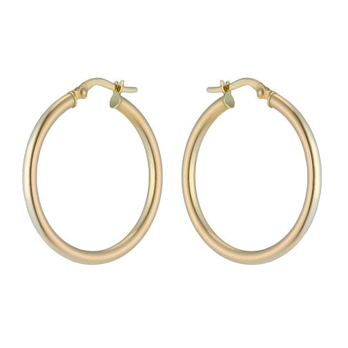 9ct yellow gold 25mm round creole hoop earrings - Product number 2230305