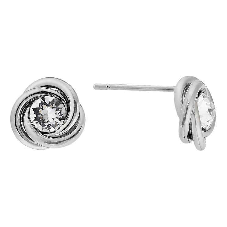 9ct white gold crystal knot stud earrings - Product number 2231719