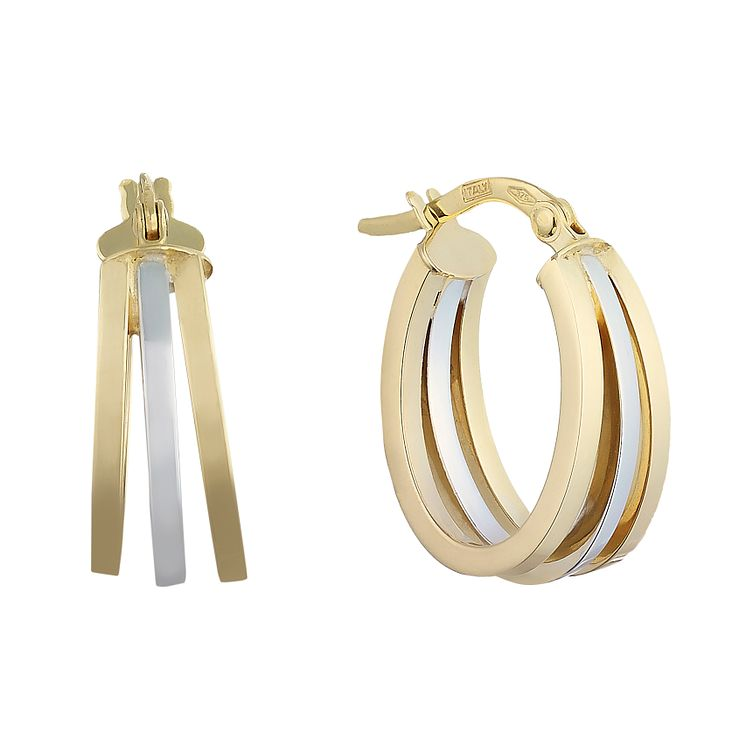 9ct yellow & white gold triple oval creole earrings - Product number 2231999