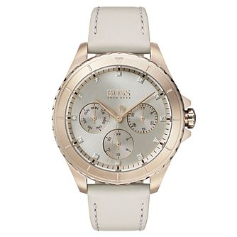 Hugo Boss Ladies' Premiere Stone Set White Strap Watch - Product number 2236028
