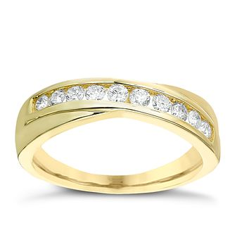 9ct gold 1/3ct diamond crossover eternity ring - Product number 2239671