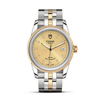 Tudor Glamour Date Ladies' Two Colour Diamond Bracelet Watch - Product number 2244918