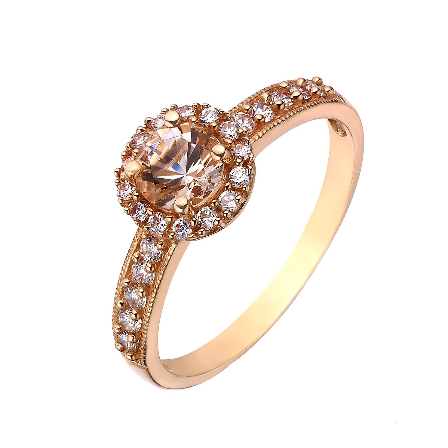 9ct Rose Gold And Simulated Morganite Round Vintage Ring Ernest Jones