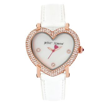 Betsey Johnson Ladies' Crystal Heart White Leather Watch - Product number 2253615