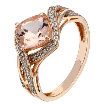 9ct rose gold diamond & morganite wave ring - Product number 2257734