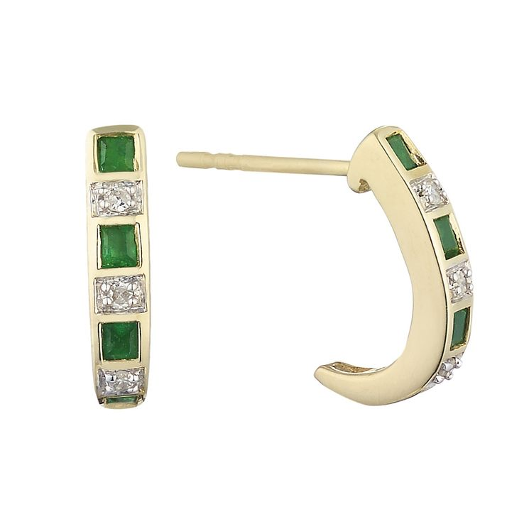 9ct yellow gold emerald and diamond hoop earrings - Product number 2260492