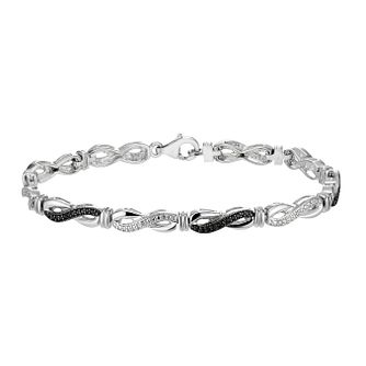Vivid silver white & treated black diamonds bracelet - Product number 2261197