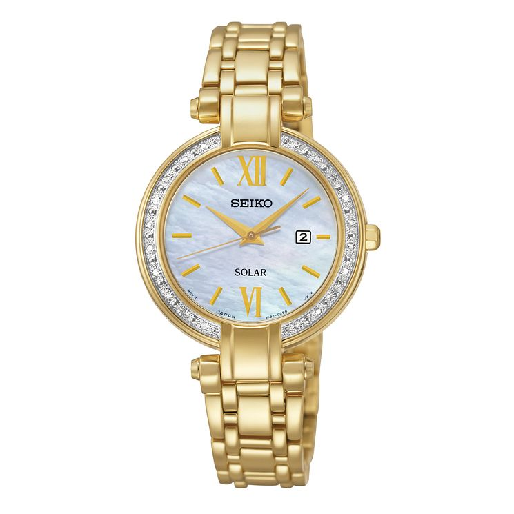 Seiko Ladies' Mother of Pearl Gold Plated Diamond Set Watch - Product number 2263904