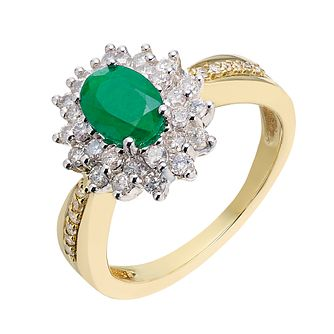 18ct gold & white gold 55 point diamond & emerald ring - Product number 2264110