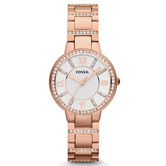 Fossil Ladies' Virginia Rose Gold Tone Crystal Watch - Product number 2266687
