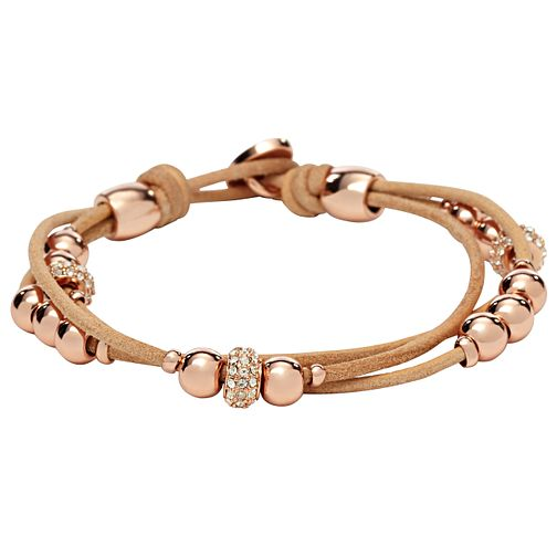 Fossil Rose Gold-Plated Beads Nude Leather Bracelet - Product number 2267454