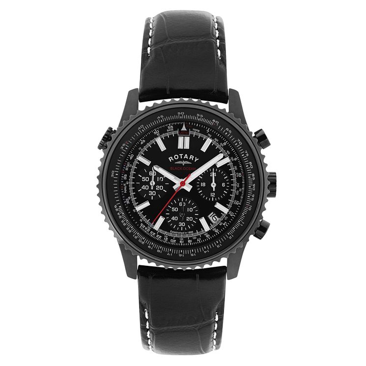 Rotary Men's Black Ion Plated Chronograph Bracelet Watch - Product number 2267853
