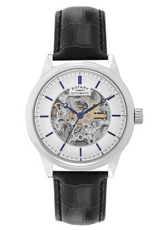 Rotary Men's Stainless Steel Skeleton Leather Strap Watch - Product number 2267918