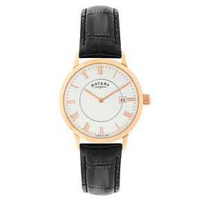 Rotary Men's Rose Gold Plated Black Leather Strap Watch - Product number 2268108