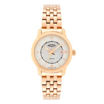 Rotary Ladies' Rose Gold Plated Diamond Set Bracelet Watch - Product number 2268345